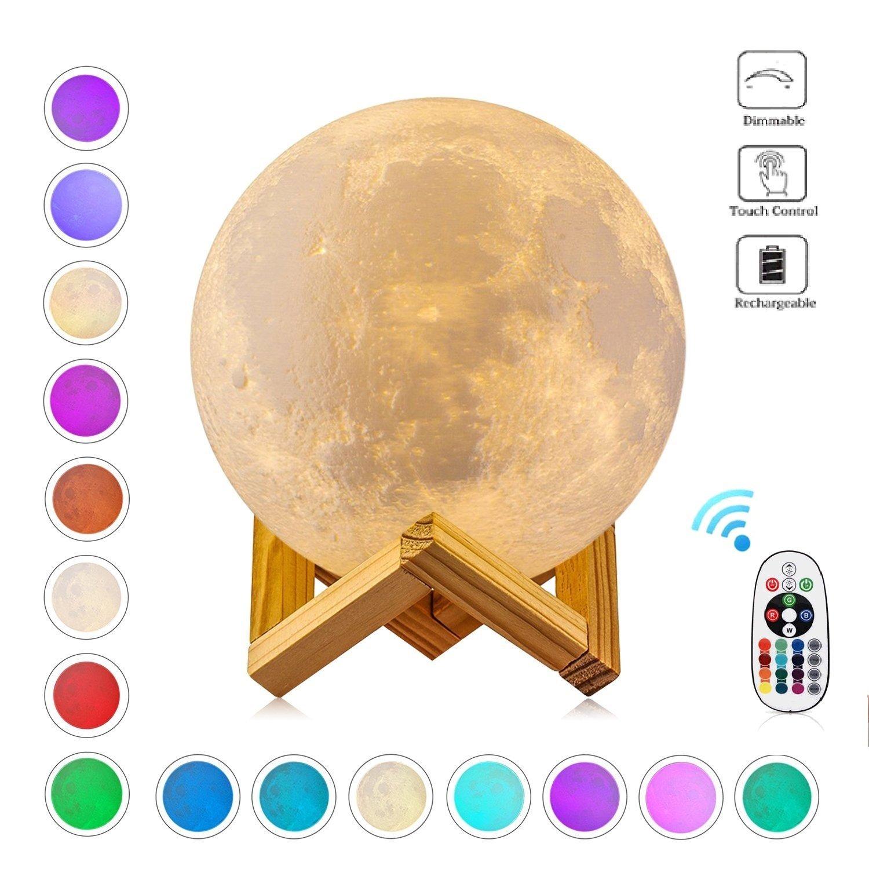 15cm Touch Control 3D Moon Lampe, Marcourt LED Nachtlicht Kinder mit Hölzerner Einfassung, Bestes Geschenk für Freund, Kinder und Familie (3 - Farbe)