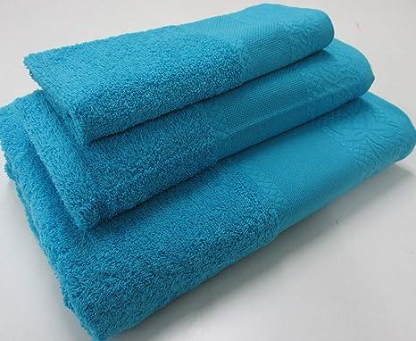 Confección Saymi Flor de Algodón Set Toalla 3 Uds. Panama 400 Gr Azul Agua Marina