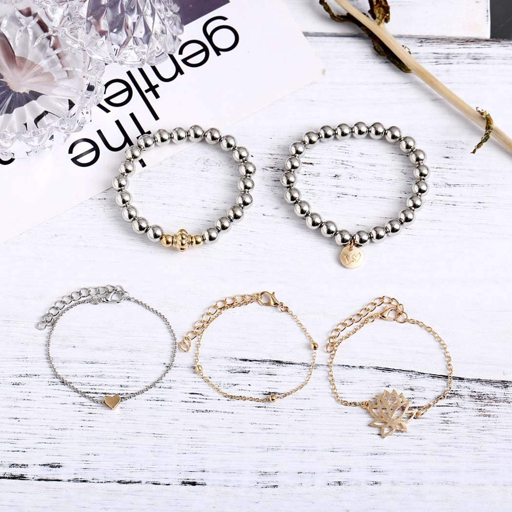 Brishow Multilayer Bracelet Flower Coin Heart Multilayer Bracelets Beaded Chain Accessories Jewelry for Women and Girls 5PCS