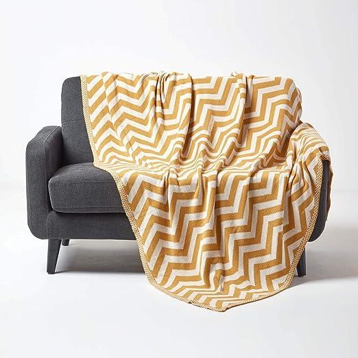 Homescapes Chevron Manta 100% algodón geométrico Acogedor Cama o sofá Manta, 100% algodón, Amarillo, 150 x 200 cm: Amazon.es: Hogar
