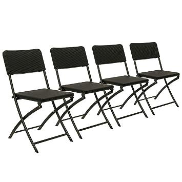 Zelsius - Juego de 4 sillas plegables, (4 x Silla plegable ...