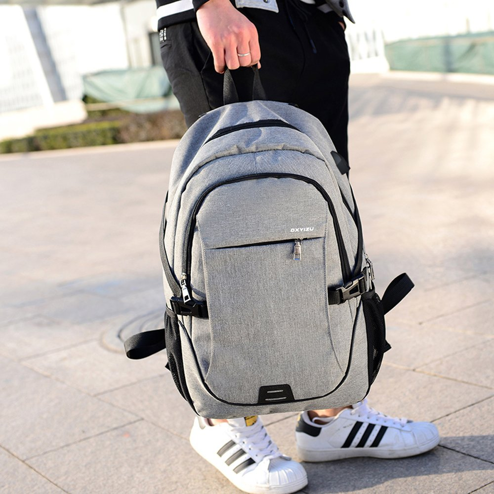 Business Laptop Backpack with USB Charging Port, Kacat Lightweight Travel Bag with Lock Fit for School Work Outdoor Activities(grey)