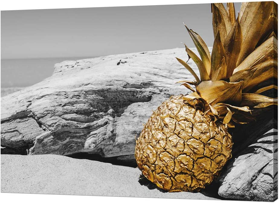 Derkymo Kitchen Picture Wall Decor Black and white Beach Scenery Golden Hawaii Pineapple Canvas Wall Art Tropical Fruit Picture Painting for Dining Room Framed Ready to Hang 16