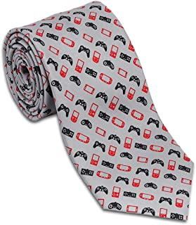 product image for Josh Bach Men's Video Game Controllers Silk Necktie in Grey, Made in USA
