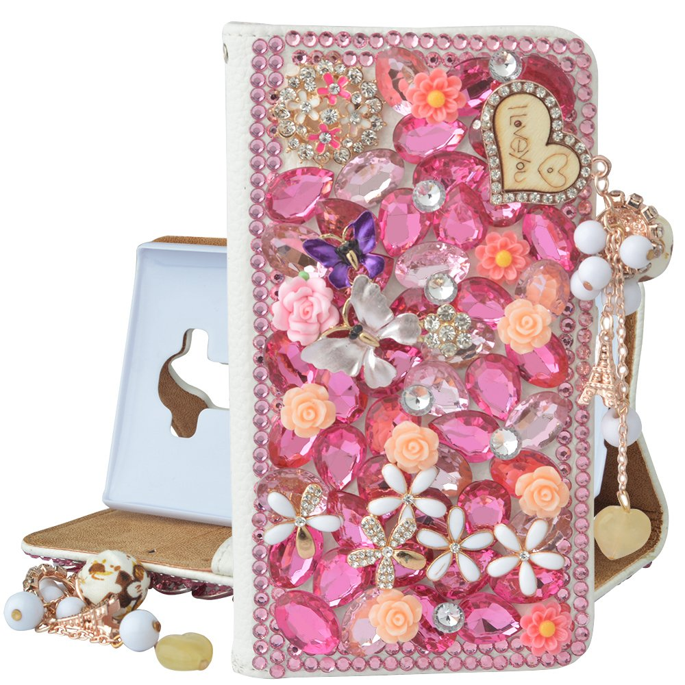 Samsung Galaxy S8 Plus Case,Spritech PU Leather Wallet Phone Case 3D Handmade Bling Design Decorated Folding Protected Smartphone Cover with Card Slots for(2017)Samsung Galaxy S8 Edge