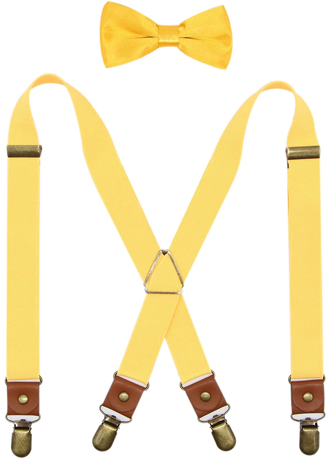 Deluxe Pre-Tied Tuxedo Bow Tie & Suspenders Set For Men & Boys By Bioterti