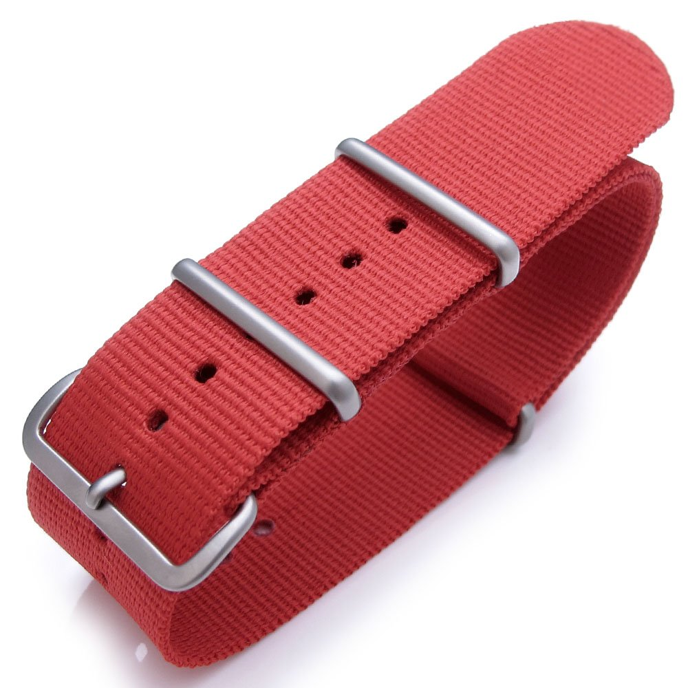 Nato Watch Band 24mm Heat Sealed G10 Nylon Brushed Buckle - Red