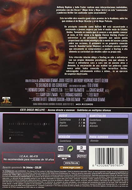 El Silencio De Los Corderos [DVD]: Amazon.es: Jodie Foster, Anthony Hopkins, Scott Glenn, Ted Levine, Kasi Lemmons, Lawrence A Bonney, Lawrence T Wrentz, Anthony Heald, Jonathan Demme, Jodie Foster, Anthony Hopkins, Edward