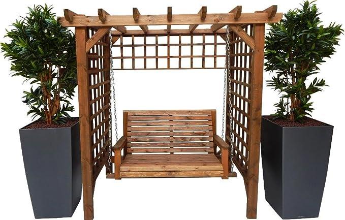 STAFFORDSHIRE GARDEN FURNITURE Asiento de madera para jardín con columpio, asiento y montaje
