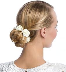 SIX Haargummi: Haarschmuck mit Rosen aus Stoff, perfekt für den Dutt, fester Halt, ideal für Hochsteckfrisuren, für festliche Anlässe, creme (313-656)