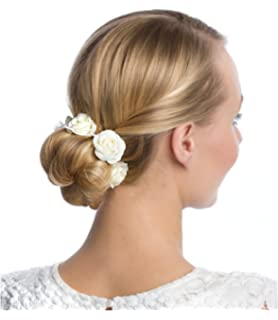 Six Haarschmuck Elastisches Haargummi Mit Weißen Textil Blüten Und