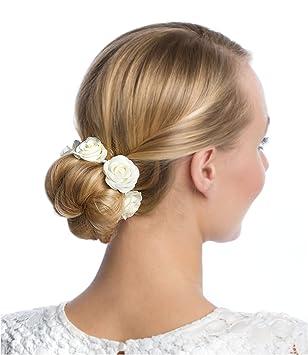 Six Haargummi Haarschmuck Mit Rosen Aus Stoff Perfekt Für Den Dutt