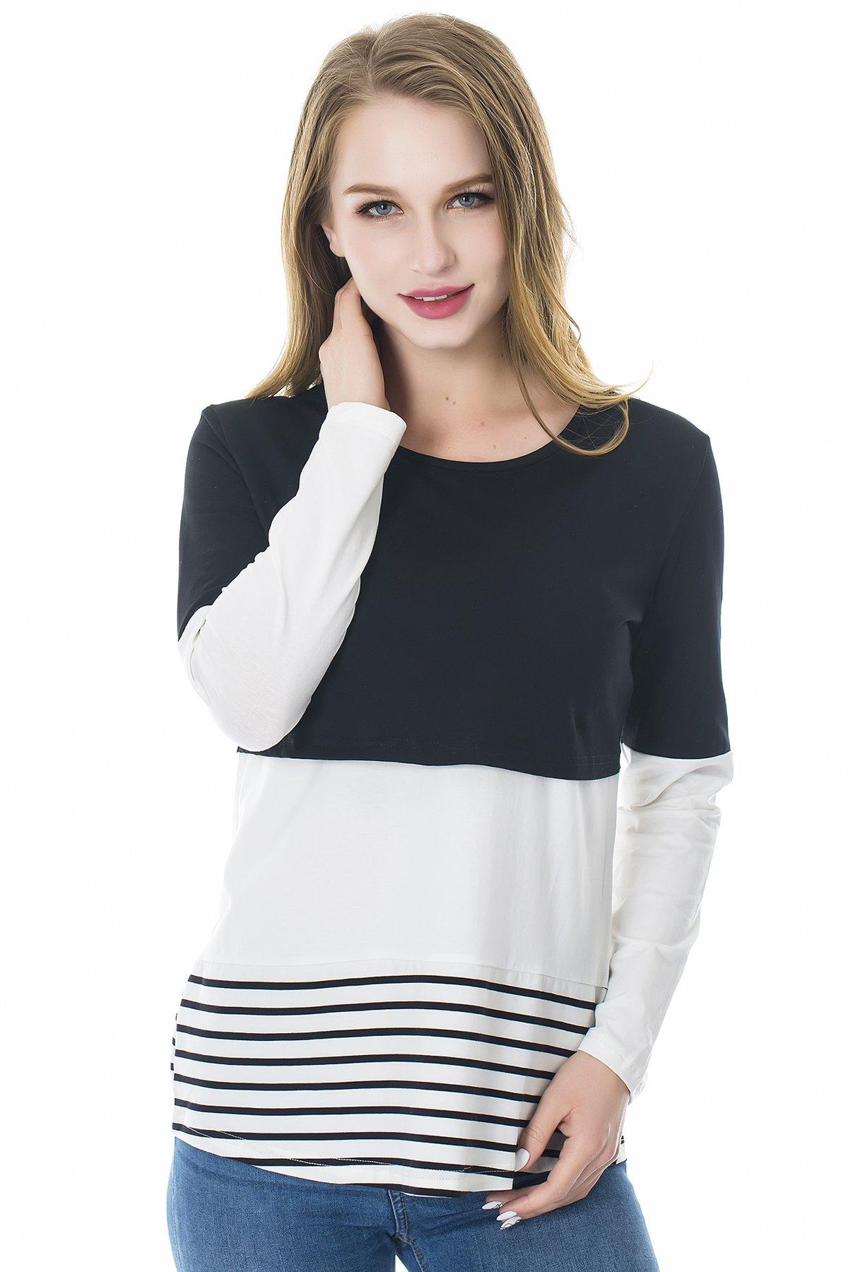 Smallshow Women's Long Sleeve Back Lace Maternity Nursing Tops Black X-Large
