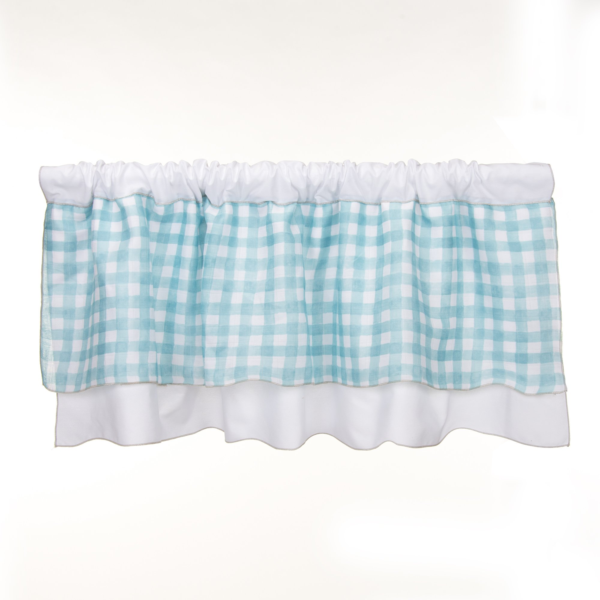 Glenna Jean Cottage Collection Willow Window Valance, White with Spa plaid, 70'' x 18''