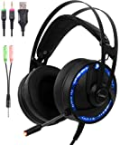 Ps4 PC Gaming RGB Headset with Microphone 2in1 Adapter Cosbary Compatible with Xbox One/Mac/Switches/PS3/Laptop Stereo Gaming LED Headphone 40mm Super Bass Driver Over Ear Noise Cancelling mic(Black)
