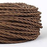 MLCA007 - Cable para lámpara (3 núcleos, trenzado, redondo), color marrón, marrón, 1 m
