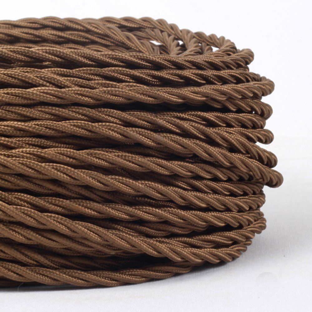 1m (MLCA007) 3 Core Brown - ANTIQUE BRAIDED TWISTED WOVEN SILK FABRIC LAMP FLEXIBLE CABLE WIRE CORD LIGHT Pendantlighting