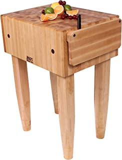 product image for John Boos Block Maple Wood End Grain Solid Butcher Block Table with Side Knife Slot, 24 Inches x 18 Inches x 10 Inch Top, 34 Inches Tall, Natural Maple Legs