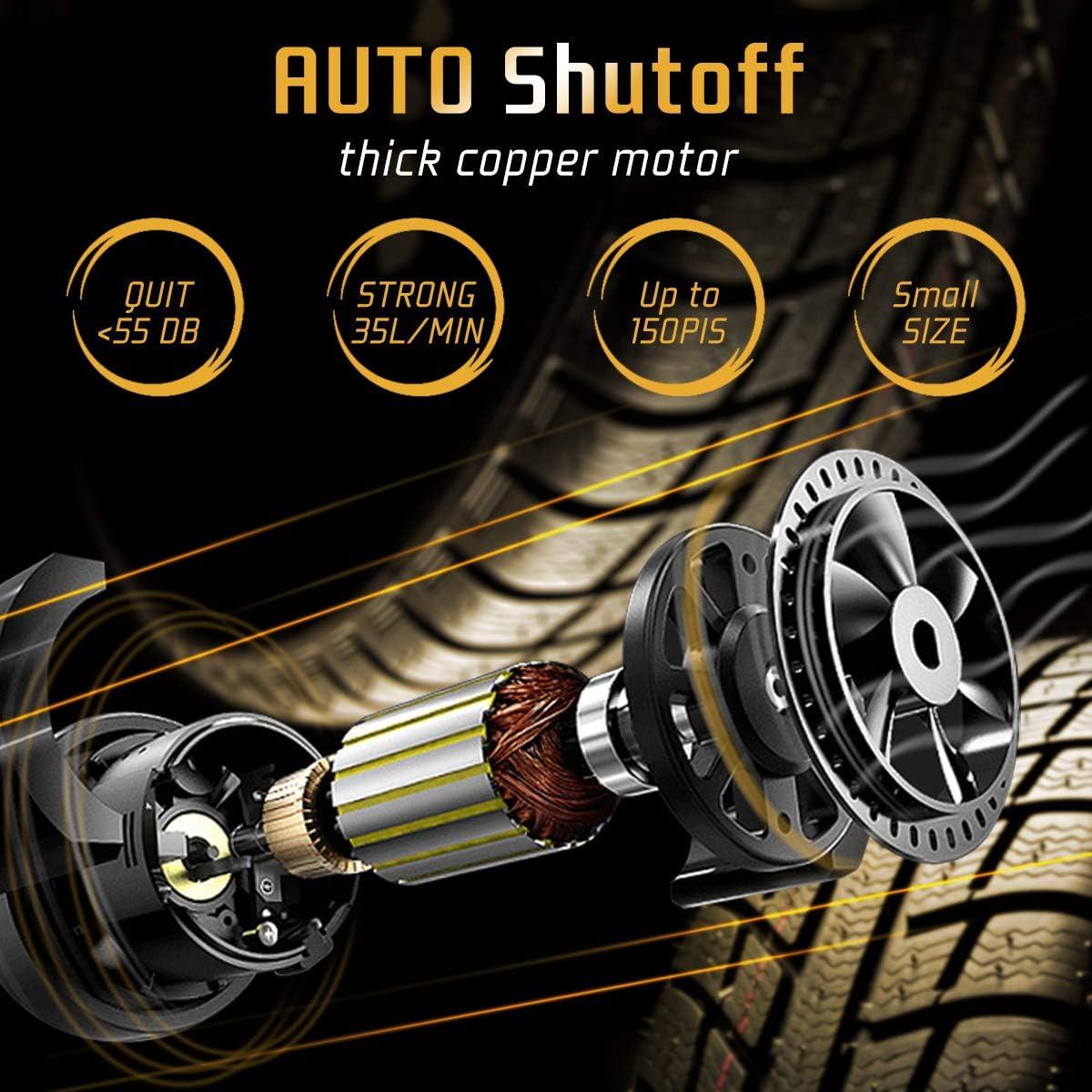 SKEY Compressore Aria Portatile Auto Spegnimento Automatico 12V 150 PSI Mini Pompa Elettrica con Luce a LED per Pneumatici per Auto//Moto//Biciclette e Altre Attrezzature Gonfiabili