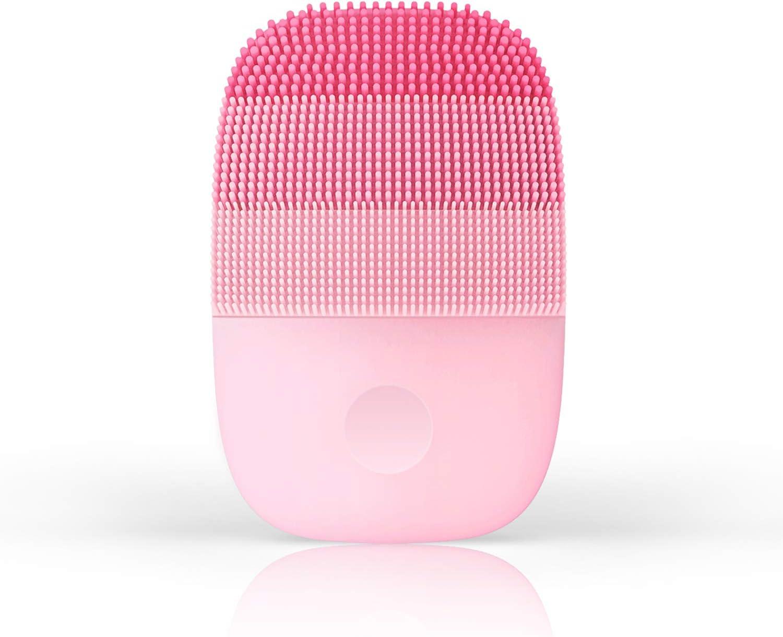Cepillo de limpieza facial ultrasónico, con temporizador inteligente, silicona e impermeable IPX7, para una limpieza profunda, exfoliación suave, especialmente para pieles sensibles (rosa)