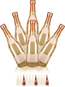 """VP Products 6 Piece Champagne Balloon Pack + 1 Tassel Garland - Perfect Kit for Bridal Shower, Bachelorette and Birthday Party - 41"""" Foil Balloon"""