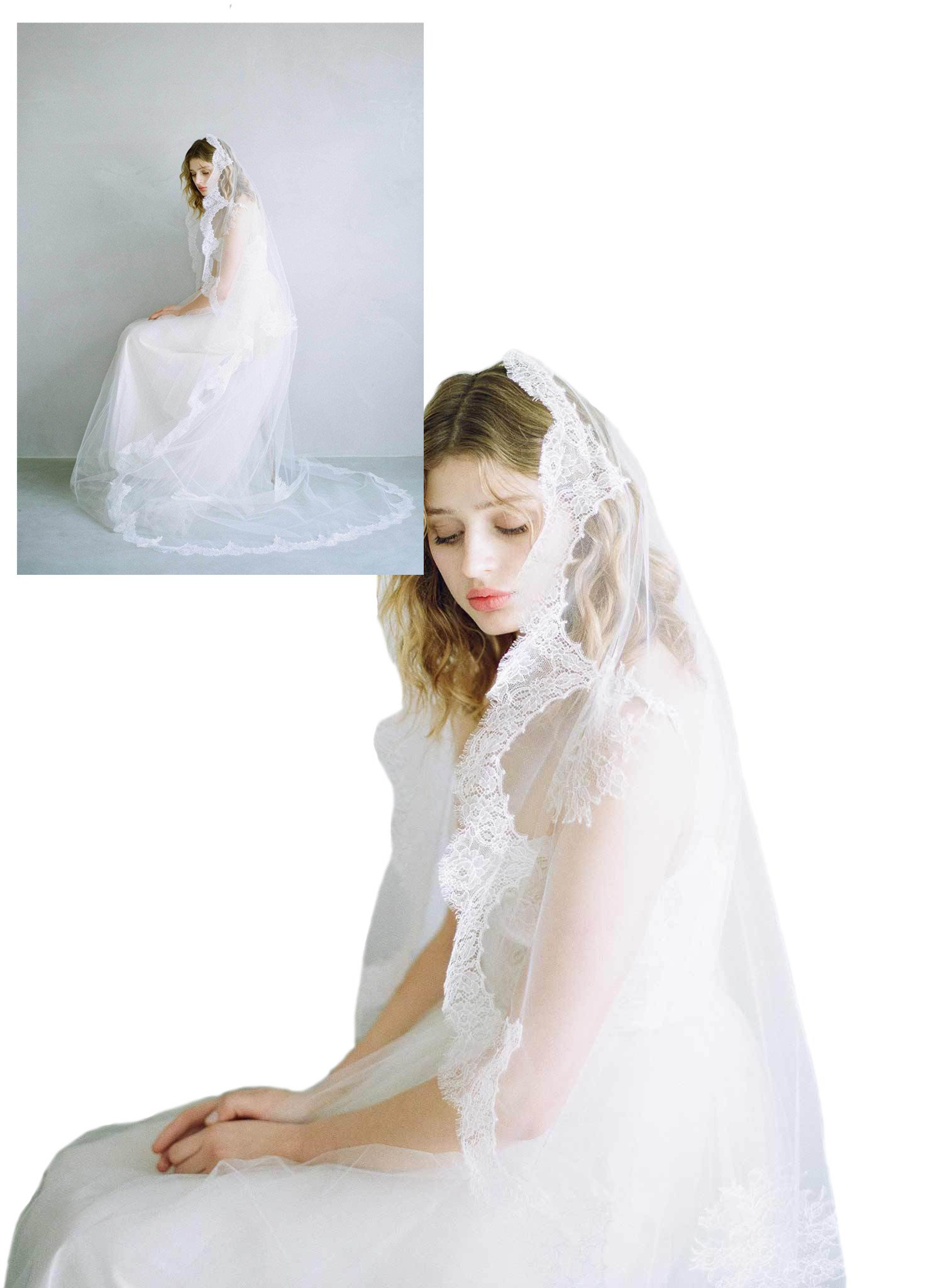 Passat Pale Ivory Single-Tier 120'' Cathedral Cascading french lace train Wedding veil DB132