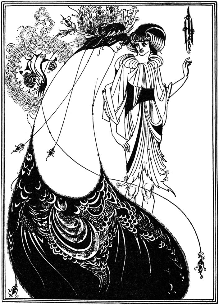 "Peacock Skirt by Aubrey Beardsley   20/"" Paper Print  Repro"