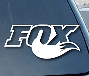 "Fox Tail Racing - Vinyl - 5"" wide (Color: WHITE) decal laptop tablet skateboard car windows stickers"