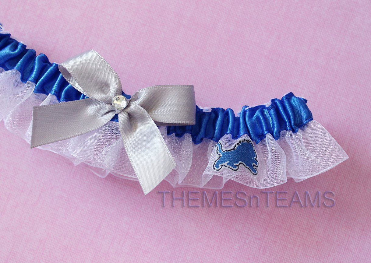 Customizable - Detroit Lions fabric handmade into bridal prom organza wedding thin garter TNT