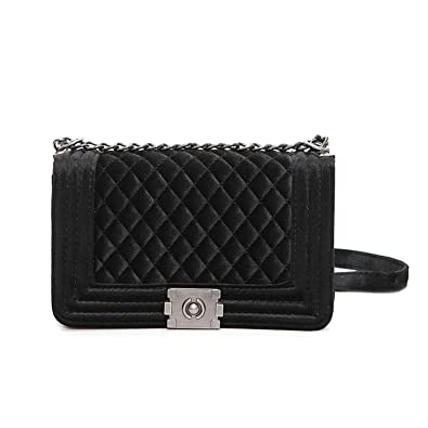Amazon Stephanie Big Handbag Quilted Chain Bag Blue Velvet
