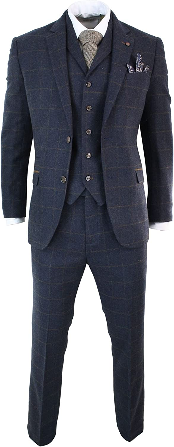 CAVANI Mens Herringbone Tweed Navy Blue Check 3 Piece Wool Suit Peaky Blinders Tan Navy-Blue 36