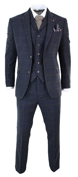 Mens Herringbone Tweed Navy Blue Check 3 Piece Wool Suit Peaky Blinders Tan