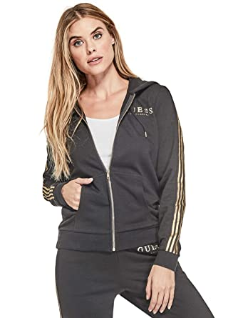 GUESS Factory Womens Eryka Metallic Stripe Hoodie at Amazon Womens Clothing store: