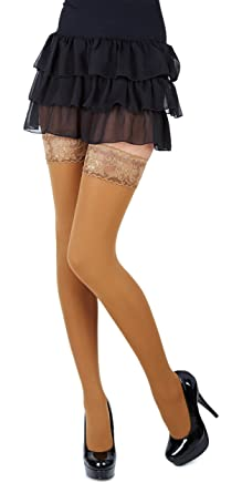 ee265d96cec NEW Lace Top 40 Denier Sheer Hold-Ups Stockings by Romartex- 8 Various  Colours- Sizes S-XL  Amazon.co.uk  Clothing