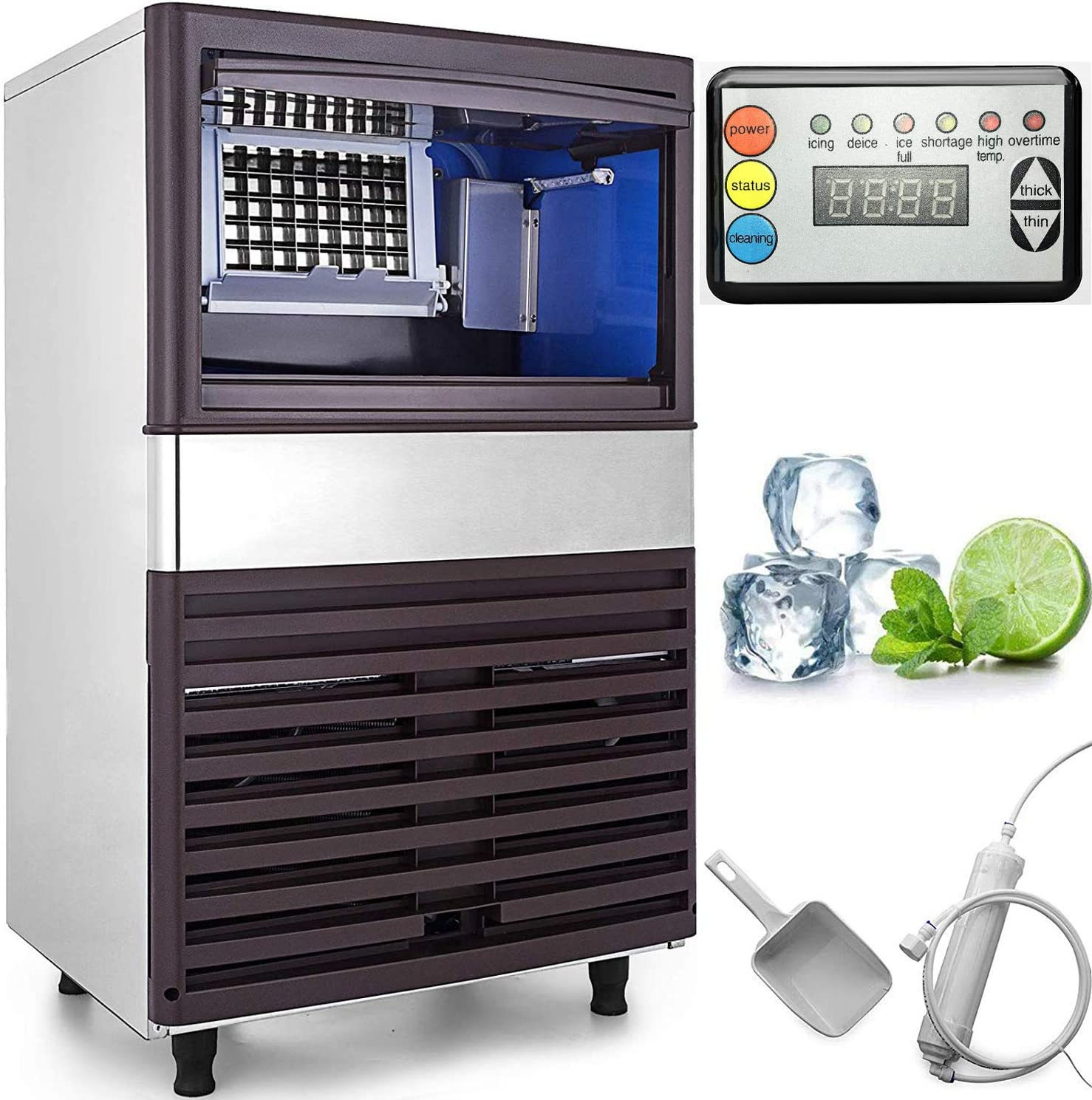 VEVOR 110V Commercial Ice Maker 110 LBS in 24 Hrs Stainless Steel with 44lbs Storage Capacity 40 Cubes Auto Clean for Bar Home Supermarkets, Includes Scoop and Connection Hose