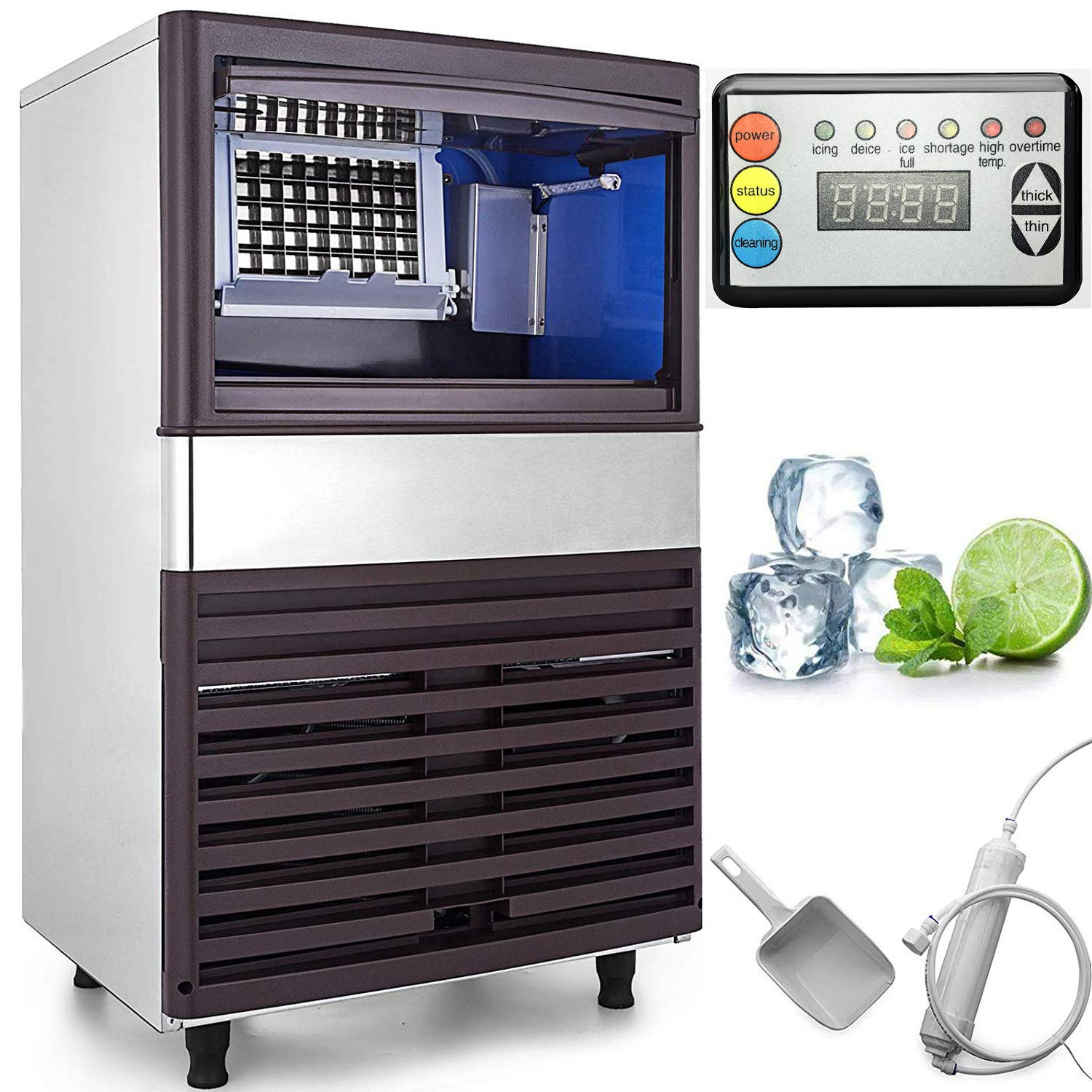 VEVOR 110V Commercial Ice Maker 155LBS/24H with 44lbs Storage Capacity Stainless Steel Commercial Ice Machine 55 Ice Cubes Per Plate Industrial Ice Maker Machine Auto Clean for Bar Home Supermarkets