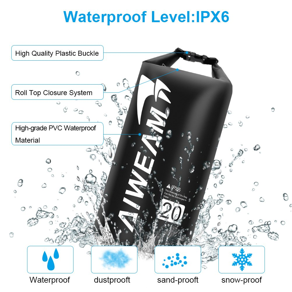 Camping Gear Roll Top Ocean Pack with IPX8 Waterproof Phone Case Great for Sailing Boating Rafting Hiking Swimming Skiing Small Dry Bags for Kayaking AIWEAM Waterproof Dry Bag 20l 10l