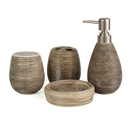 Accessori Da Bagno In Ceramica.Asien Set Di 4 Moderni Accessori Da Bagno In Ceramica Dispenser Di