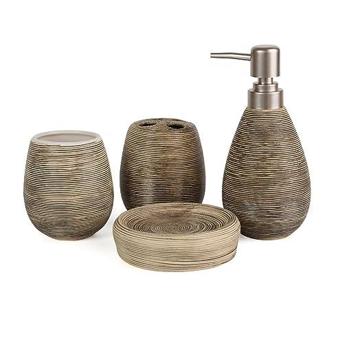 Asien Badezimmer Zubehu0026ouml;r Set, 4 Teilig, Aus Keramik, Seifenspender