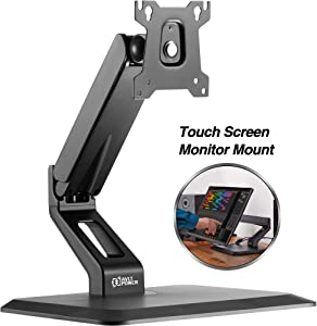"AVLT Single 27"" Touchscreen Monitor Desk Stand - Mount AIO (All in one) Computer Monitor on Full Motion Adjustable Arm - Organize Digital Audio Workstation with Ergonomic VESA Monitor Mount"