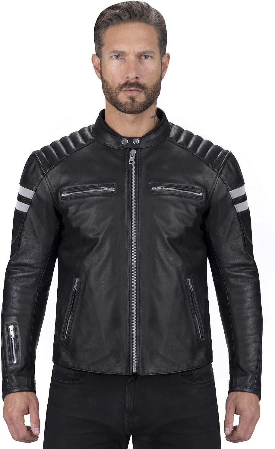Viking Cycle Bloodaxe Leather Motorcycle Jacket for Men Black, XX-Large