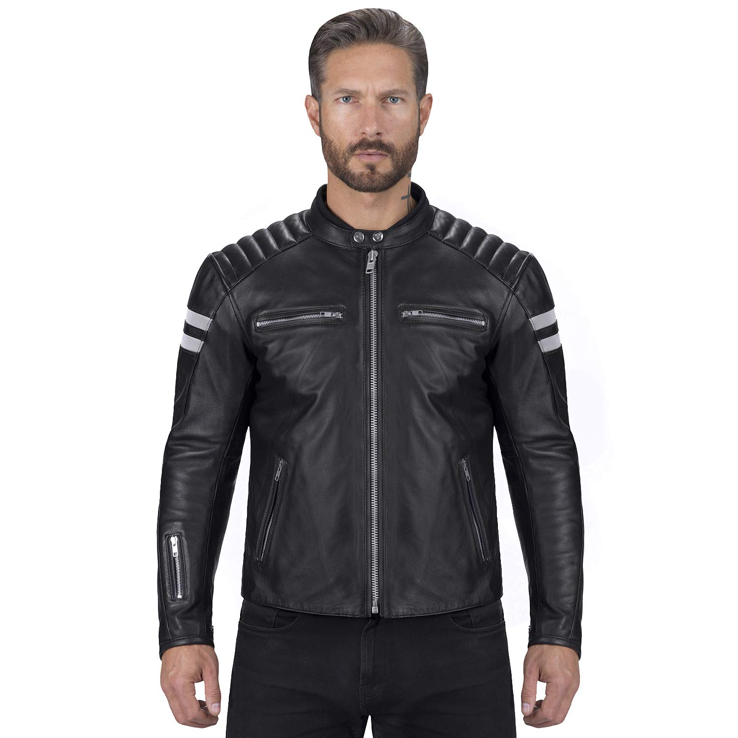 Viking Cycle Bloodaxe Leather Motorcycle Jacket for Men