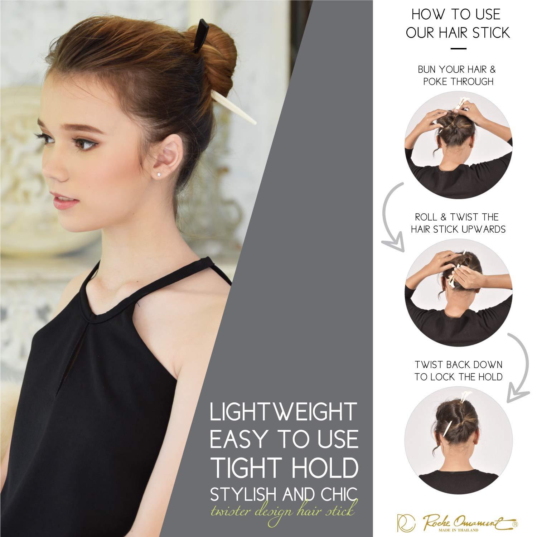 Amazon Com Rc Roche Ornament Womens Fashion Hair Sticks Flat Twist