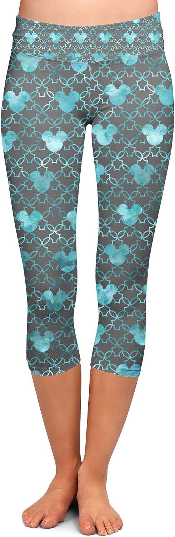 Capri 3//4 Length Low Waist Mouse Ears Watercolor Yoga Leggings