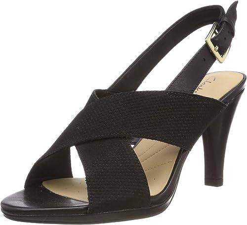 Clarks Damen Spiced Bay Geschlossene Sandalen, Schwarz (Black Leather), 41 EU