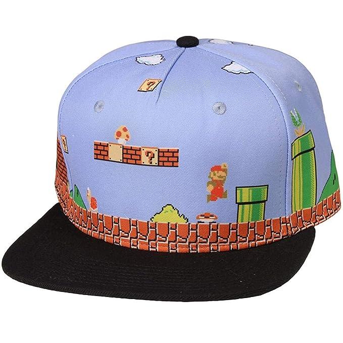 Amazon.com  Bioworld Super Mario Brothers 8-Bit Landscape Snapback ... e37d948be07