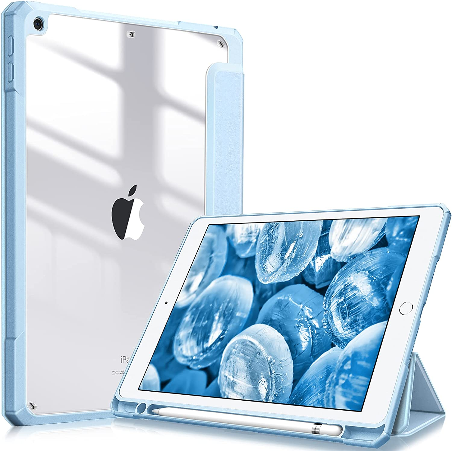 Fintie Hybrid Slim Case for iPad 8th Generation (2020) / 7th Gen (2019) 10.2 Inch - [Built-in Pencil Holder] Shockproof Cover with Clear Transparent Back Shell, Auto Wake/Sleep, Sky Blue
