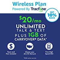 ($20 eGift Card Promotion) Tracfone Monthly Carrier Subscription for Unlimited Talk, Text, 1GB Data plus Carryover Data Plan + Tracfone SIM Kit (AT&T Compatible)