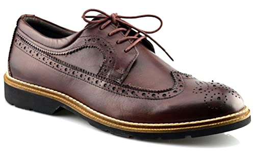 Mens New Leather Flexible Memory Foam Formal Lace Up Brogues Dress Shoes  Size: Amazon.co.uk: Shoes & Bags