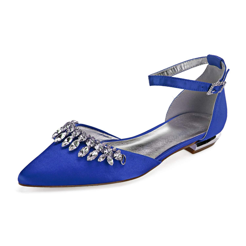 MarHermoso Womens Pointed Toe Slip On Elegant Rhinstones Link Chain Tassels Bridal Wedding Shoes